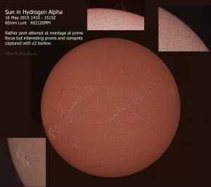 Sun in Hydrogen Alpha with close up of Prominences and Sunspots