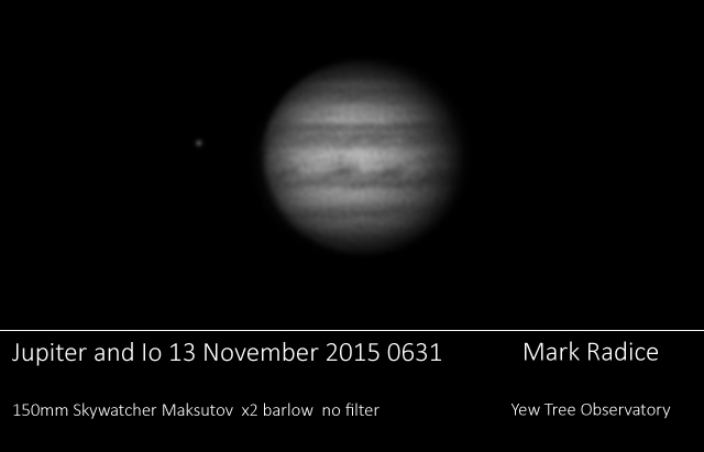 Jupiter and Io through 150 Mak