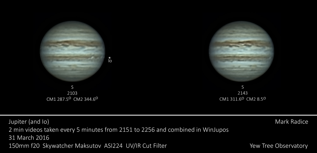 Two images of Jupiter derotated in WinJupos
