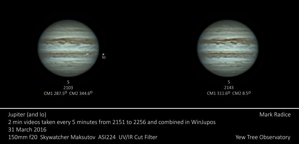 Two images of Jupiter derotated in WinJupos